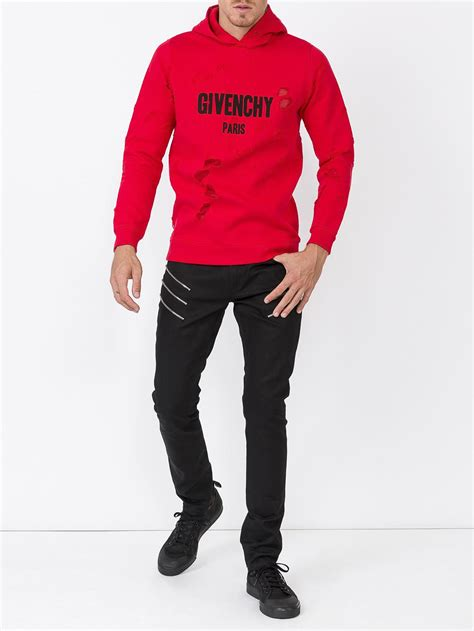 Lyst - Givenchy Destroyed Hoodie in Red for Men